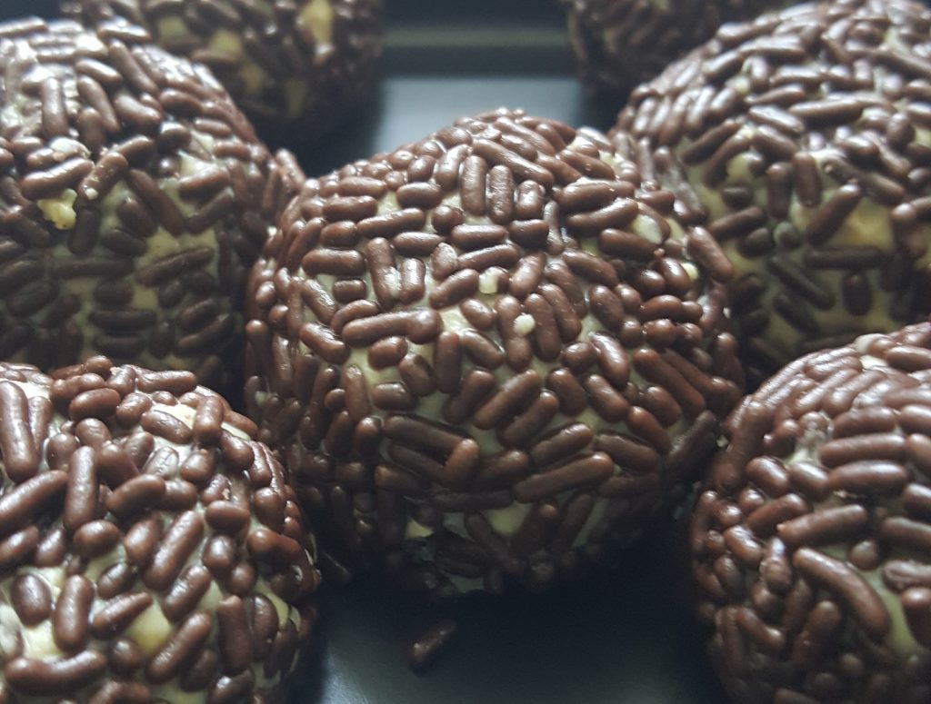 Peanut butter truffles.