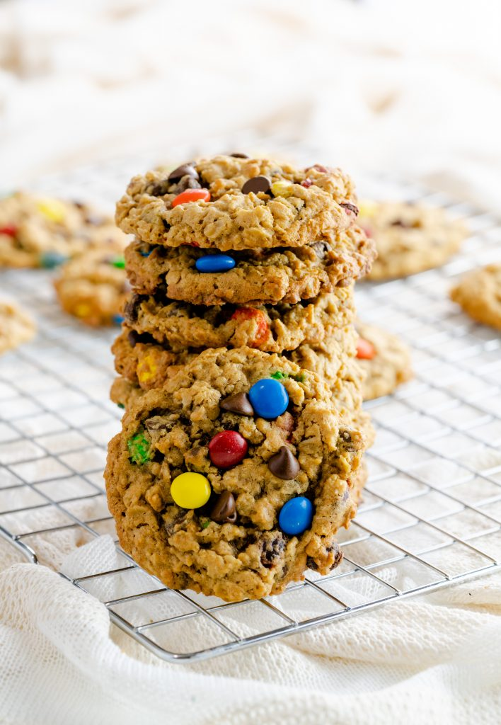 monster cookies made with oatmeal, chocolate chips, and peanut butter.