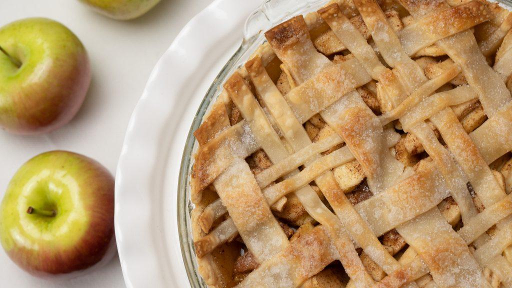 homemade apple pie, plaid, lattice crust, apples, shiny, pie dish, crisp, pie crust, white background Christmas Thanksgiving