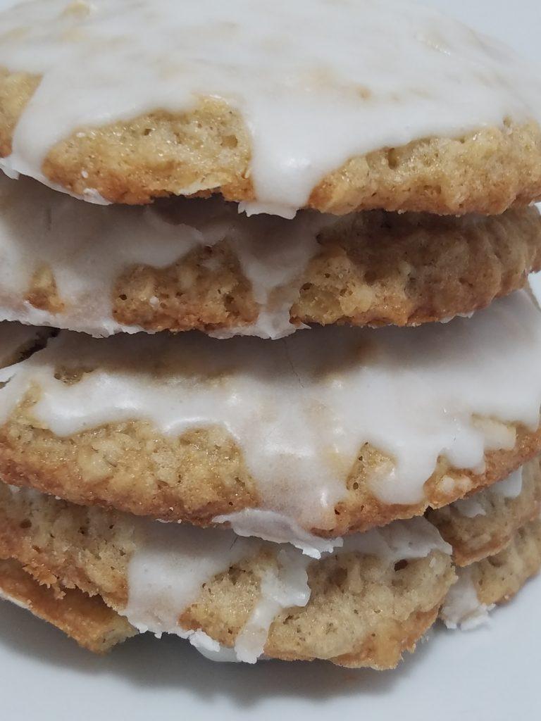 Apple Cinnamon Oatmeal cookies stacked.