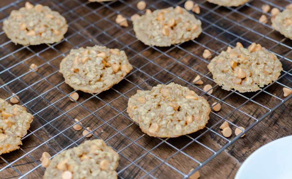 oatmeal butterscotch cookies on wire rack