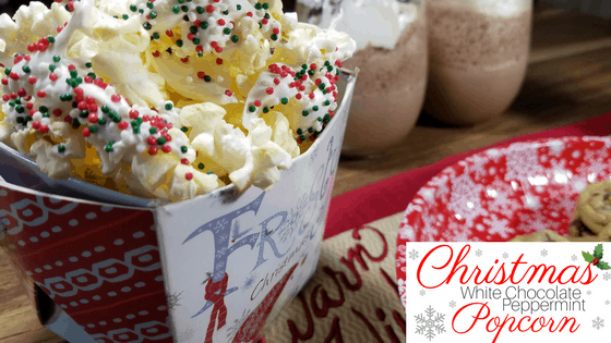 Christmas White Chocolate Peppermint Popcorn Snack Mix