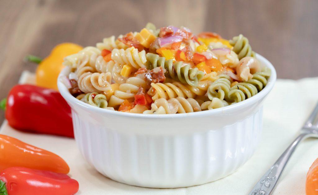 Easy Italian Pasta Salad made with tricolor rotini pasta.