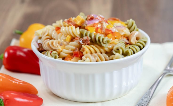 Easy Italian Pasta Salad mini peppers bowl fork spoon potluck
