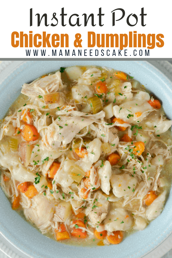 This recipe for Chicken & Dumplings is made in the Instant Pot and it's the perfect dump and start meal for busy nights.  #instantpot #dumpandstart #freezermeal #mealprep #chickenanddumplings #pressurecooker #comfortfood #easyrecipe #familydinner #easydinner