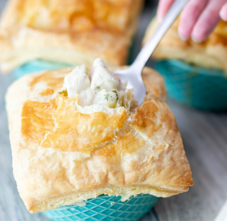 Mini Chicken Pot Pies with Puff Pastry Crust
