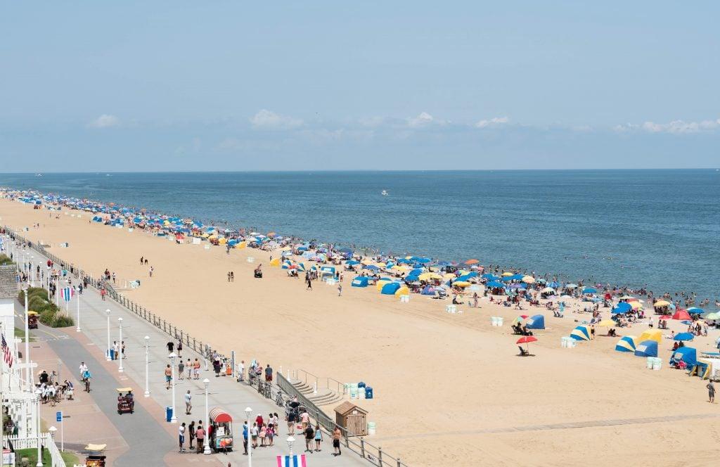 Virginia Beach boardwalk vacation umbrellas ocean sand