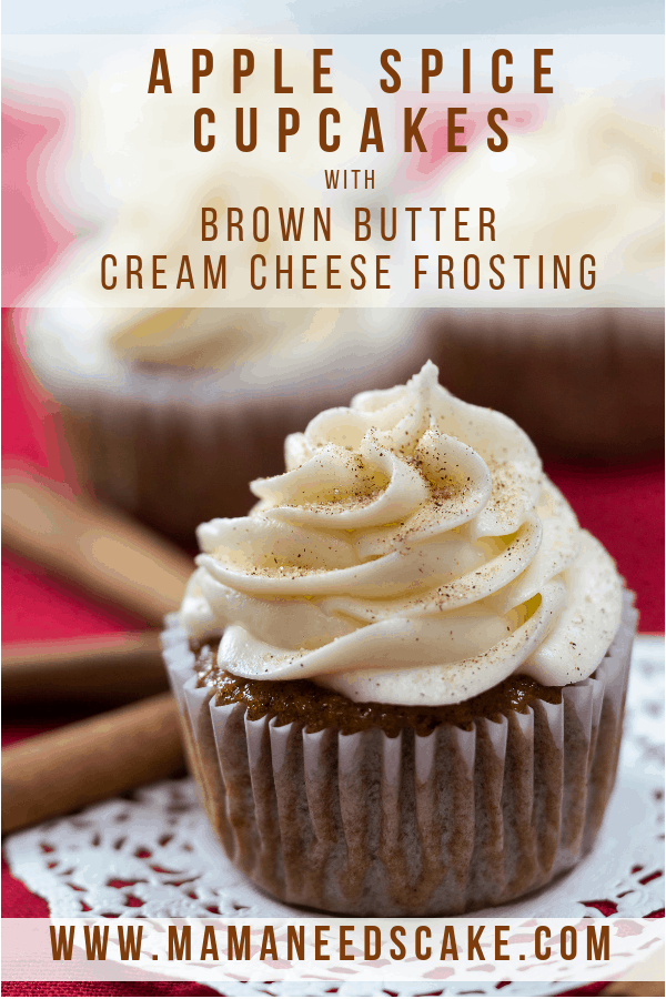 apple spice cupcakes brown butter cream cheese frosting red background cinnamon sticks cinnamon sugar doilies