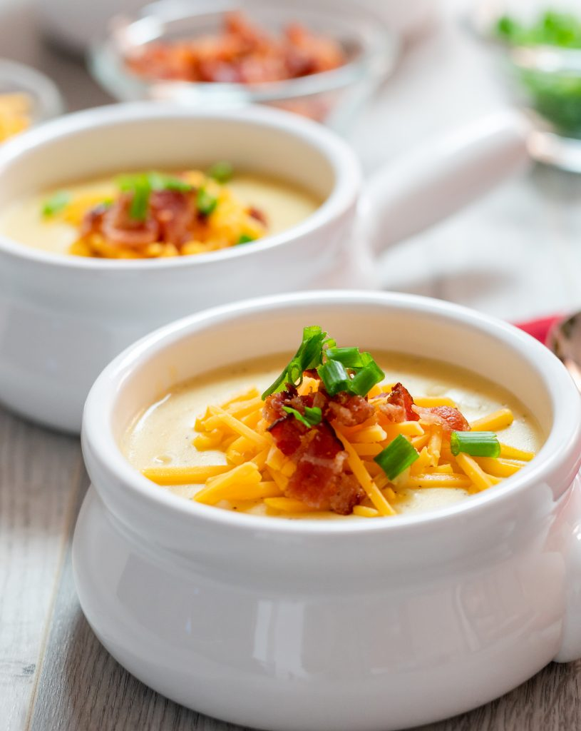 Instant Pot Potato Soup Outback Steakhouse Copycat recipe bowls bacon scallions green onions cheddar cheese