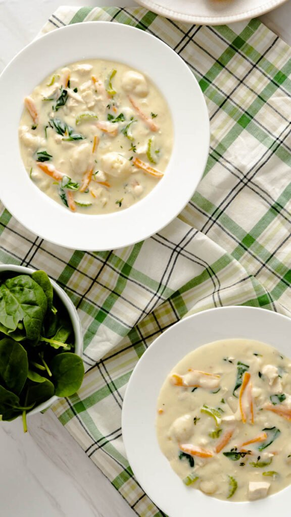 Two wide rimmed bowls of chicken and gnocchi soup on a green checkered napkin.