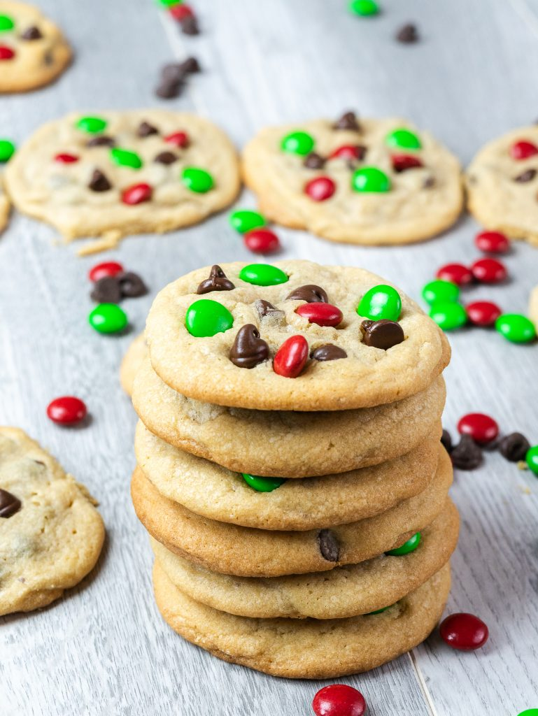 stacked chocolate chip m&m cookies