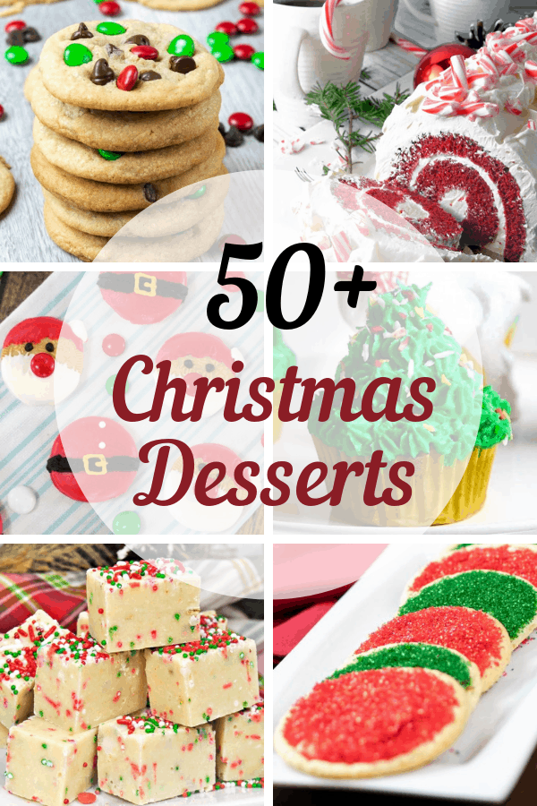 Christmas season means baking season is here and I've made it easy by rounding up 50+ must try Christmas Desserts.  These desserts include bars, cakes, cheesecakes, cookies, cupcakes, fudge, and pies.  These delicious desserts are easy to make and perfect to make for gifts, parties, or for Christmas Feasts. #food #recipe #dessert #christmasgifts #christmascookies #christmas #thanksgivingrecipes #thanksgiving #thanksgivingdesserts #cookies #cookierecipes #foodie #dessertfoodrecipes #desserts #foodblogger #foodlover #dessertrecipes #foodgasm #recipeoftheday #foodblog #recipeideas #familyrecipes #candy #chocolatechipcookies #veganrecipes #glutenfreerecipes #holidaydessert #bakedgoods #bundtcake #fudge #christmascookiexchange