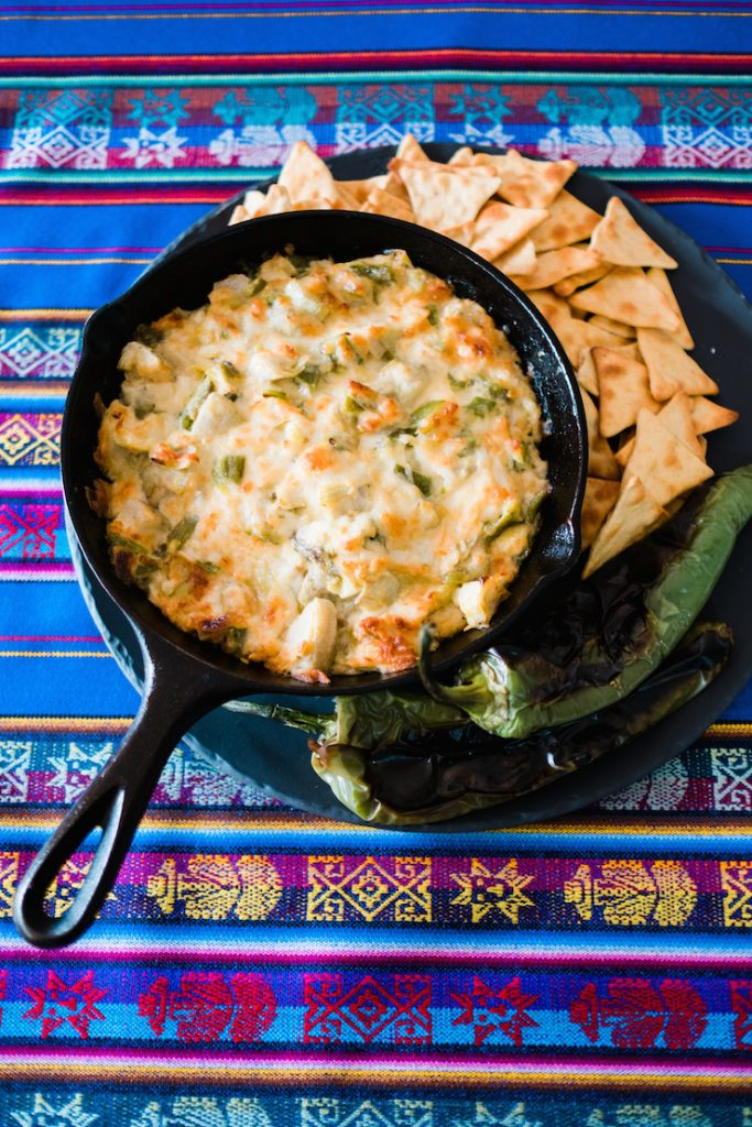 artichoke with roasted green chile dip
