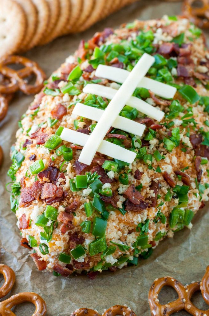 party jalapeno popper football cheese ball appetizer recipe PEASandCRAYONS 8612