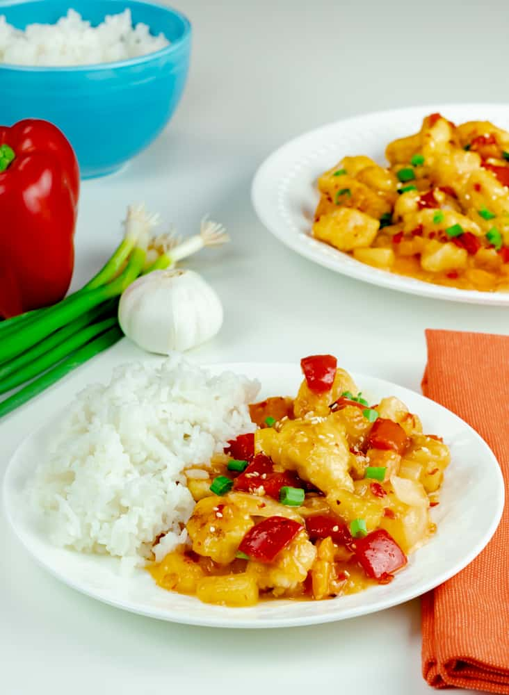 Sweet Fire Chicken Panda Express Copycat served with white rice.