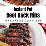 Beef Back Ribs with a dry rub and made in the Instant Pot using apple cider vinegar as the liquid. These ribs are finished in the oven for a crispy texture and coated with your favorite BBQ sauce. #bbqribs #beefribs #ribs #instantpot #pressurecooker #instantpotribs #dinner #saucy #ribs #dinner #barbecue #cookout #potluck #party