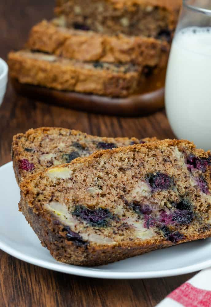 The Old Mill Copycat for Blueberry Banana Bread and milk