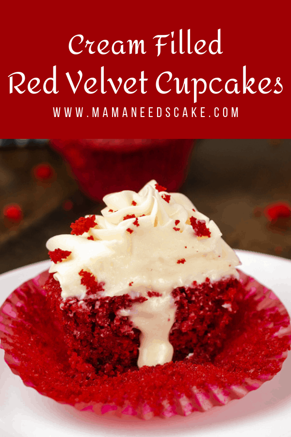 Cream Filled Red Velvet Cupcakes