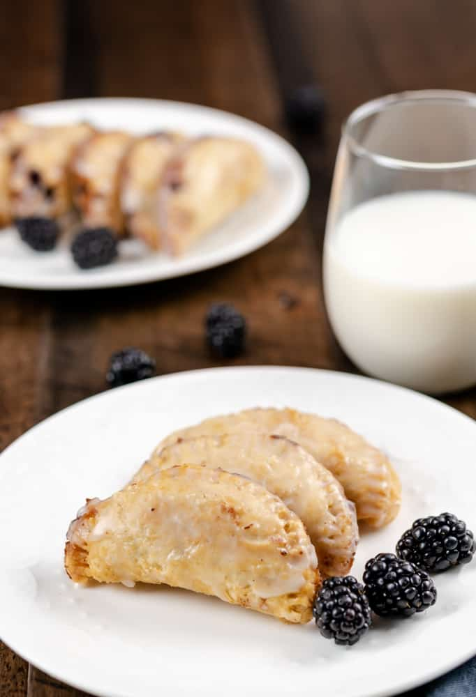 Fried Blackberry Pies (made in the Air Fryer with glass of milk.