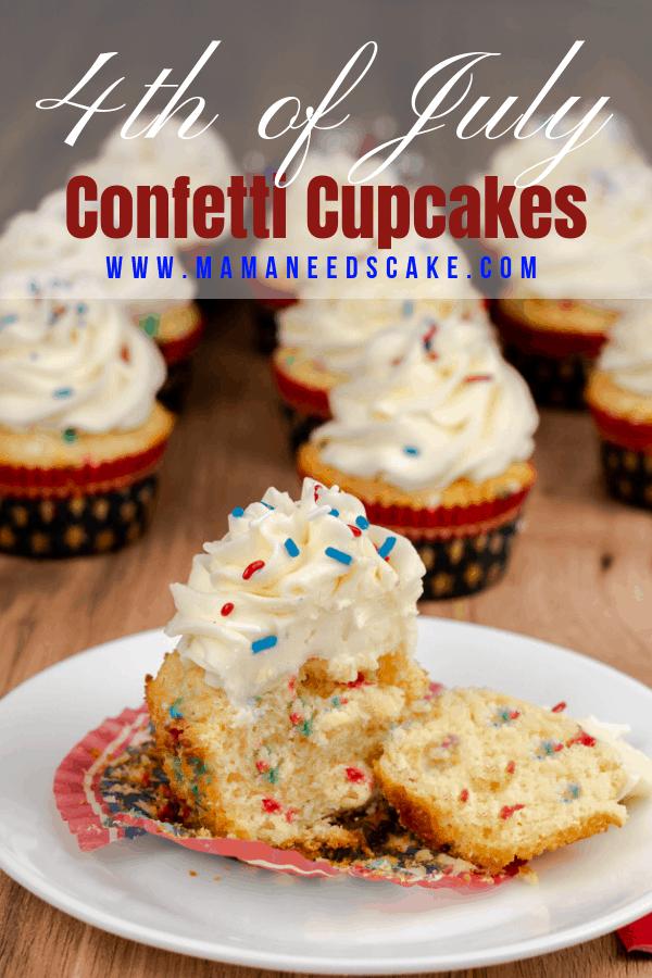 4th of July vanilla confetti cupcakes