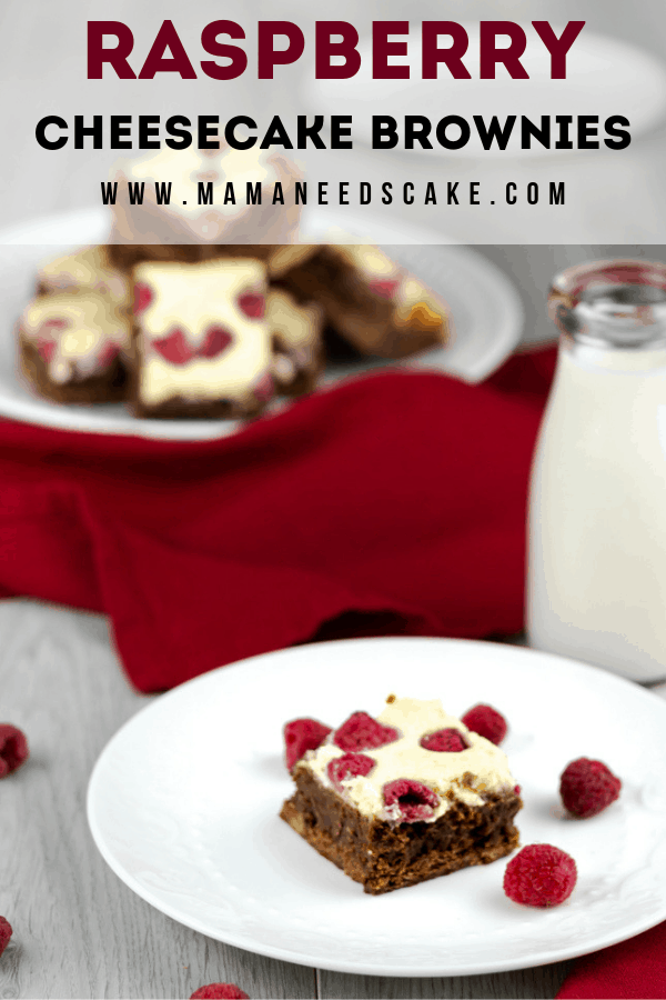 These made from scratch chocolate brownies have a cheesecake layer and are topped with fresh raspberries. #brownies #cheesecakebrownies #dessertoftheday #browniebars #raspberries #cheesecake #easydessert #foodblogger #foodblog #chocolatebrownies