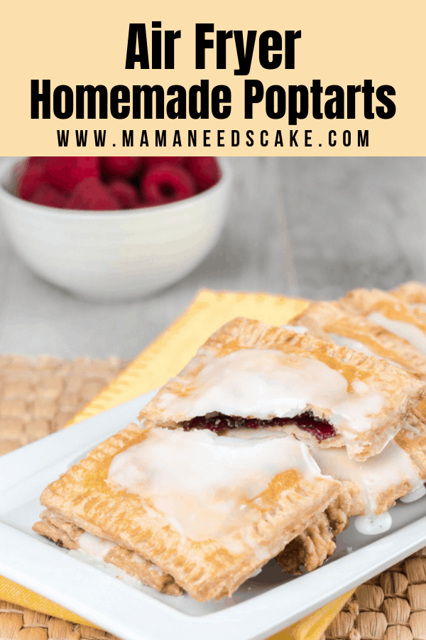 These homemade pop tarts are made with pastry dough and filled with raspberry jam then air-fried in the air fryer. #airfryer #instantpotvortex #vortexplus #vortex #airfryerbreakfast #breakfast #copycatrecipes #airfryerpoptarts #poptarts #raspberry