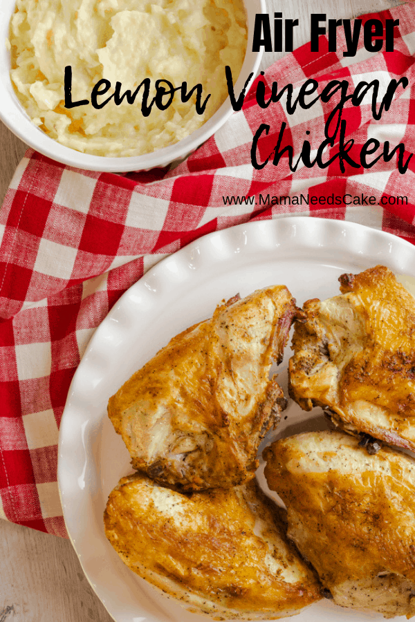 Deliciously moist and juicy chicken breasts marinated in flavors of lemon and vinegar and cooked in the air fryer.  #lemon #vinegar #airfryerchicken #airfryerrecipe #airfryerdinner #instantpotvortex #vortex #vortexplus #instantpot #dinnerrecipe
