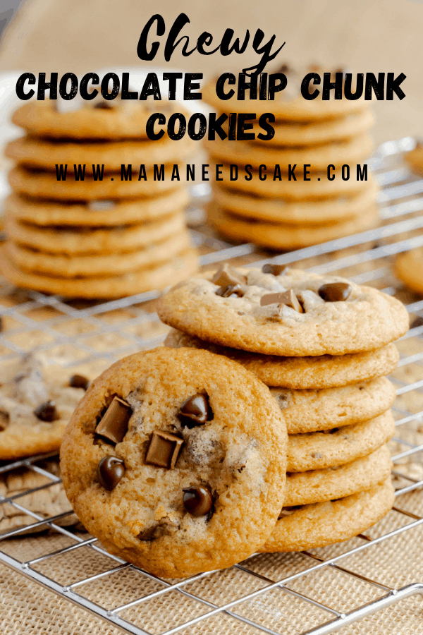 AD Sink your teeth into these chewy chocolate chip chunk cookies using Karo® Corn Syrup. Every bite is full of chocolate flavor and chewy goodness. #KaroSyrup #SweetMemories #Baking #HomemadeCookies #ChewyChocolateChipCookies #ChocolateChipCookies