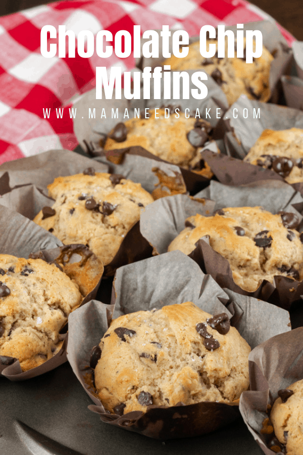 These moist and delicious chocolate chip muffins are made Bakery-Style with semi-sweet chocolate chips and are topped with crystallized sugar. #chocolatechips #chocolatechipmuffins #muffins #bakerystyle #bakery #breakfastrecipes #muffinrecipes #breakfast #dessert #chococlatelovers