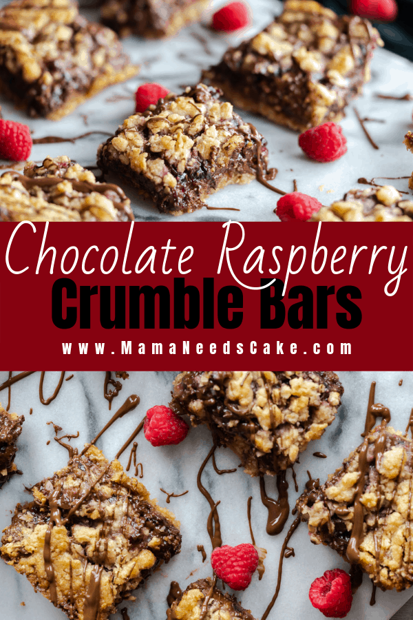 These chocolate raspberry crumble squares have a crunchy oatmeal bottom and then layered with raspberry jam, semi-sweet chocolate chips. Topping off these delicious squares is an oatmeal streusel topping and drizzled chocolate. #raspberries #raspberry #crumble #bars #dessert #oatmeal #dessert #chocolate