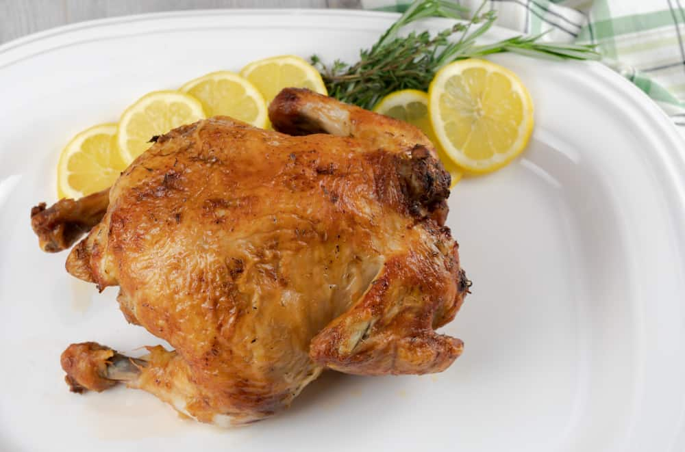 A whole chicken made in the Instant Pot Vortex with lemon and thyme.