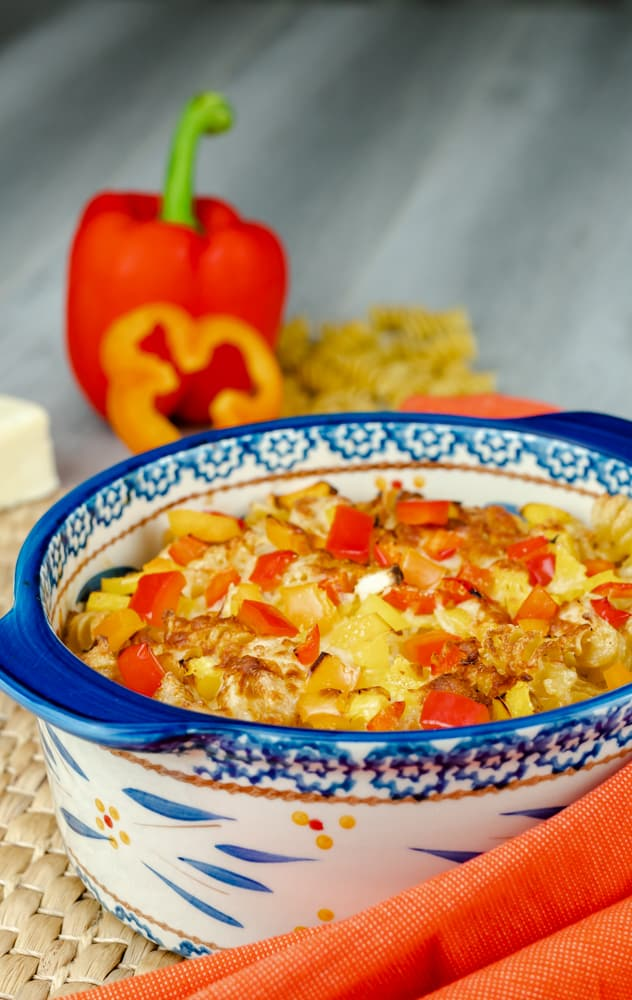 Santa Fe Chicken and pasta in a casserole dish that made in the Air Fryer.