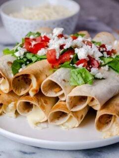 air fryer chicken &cheese taquitos