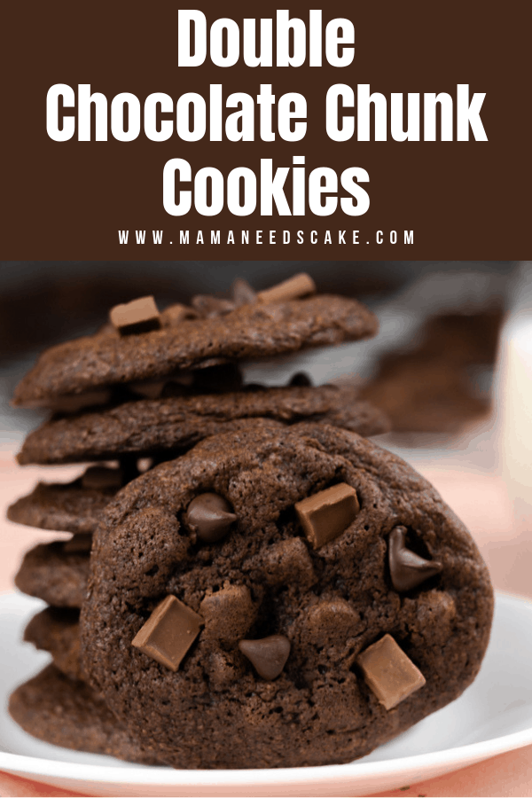 These double chocolate chunk cookies are made with chocolate chunk and chocolate chips.  They taste great warmed up and served with a glass of milk!