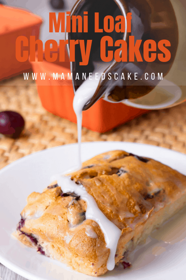 These cherry cakes are made in mini loaves with fresh pitted cherries and are drizzled with a sweet vanilla glaze. #instantpotvortex #vortexplus #miniloaf #cherrycake #cakerecipes #miniloafcakes #bakinggifts #gifts #fruit #airfryeroven