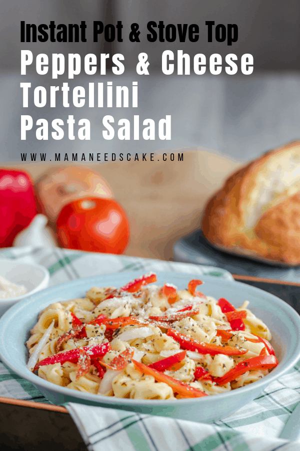 This pasta salad is made with 3 cheese tortellini pasta and has a mixture of peppers, onions, pepperonis, and seasonings. Directions for the Instant Pot (Pressure Cooker) and the stove-top are included! #tortellini #pastasalad #pressurecookerpasta #instantpotpasta #potluck #cookoutfood #partyfood #cheesetortellini #italianpastasalad #peppers