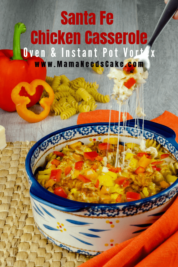 This Santa Fe Chicken Casserole has directions for the oven and the Instant Pot Vortex. This casserole is made with Monterey Jack and Mozzarella cheeses, as well as bell peppers, onions, and garlic. #instantpotvortex #vortexplus #instantpot #casserole #chickenrecipes #cheesy #chicken #pasta #easycasserole #easydinnerideas #familyfriendly