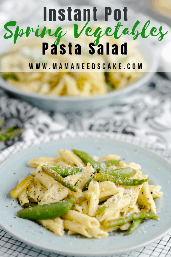 Penne pasta made in the Instant Pot and tossed in olive oil and served with fresh sugar snap peas and asparagus then garnished with Parmesan cheese.  #pastasalad #asparagus #sugarsnappeas #sugarpeas #greenvegetables #springvegetables #instantpotpasta #instantpotpastasalad #potluck #pressurecookerpastasalad