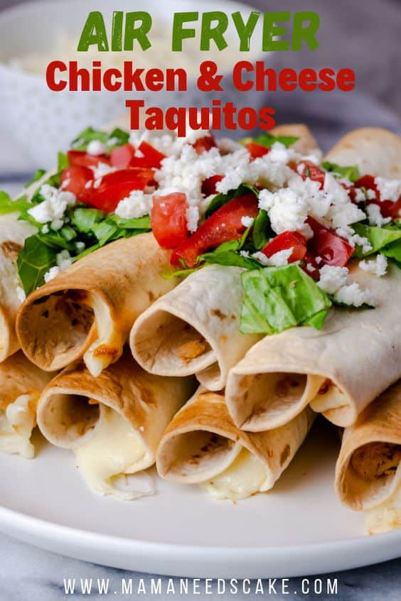 air fryer chicken and cheese taquitos pin