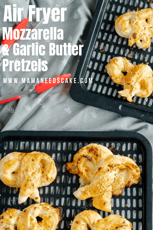 Soft and homemade pretzels rolled with mozzarella cheese and brushed with a garlic butter mixture.  These pretzels are made from scratch and made in the Air Fryer! #airfryer #pretzels #garlicbutterpretzels #softpretzels #airfryerpretzels #snack #easyairfryer #pretzelrecipe