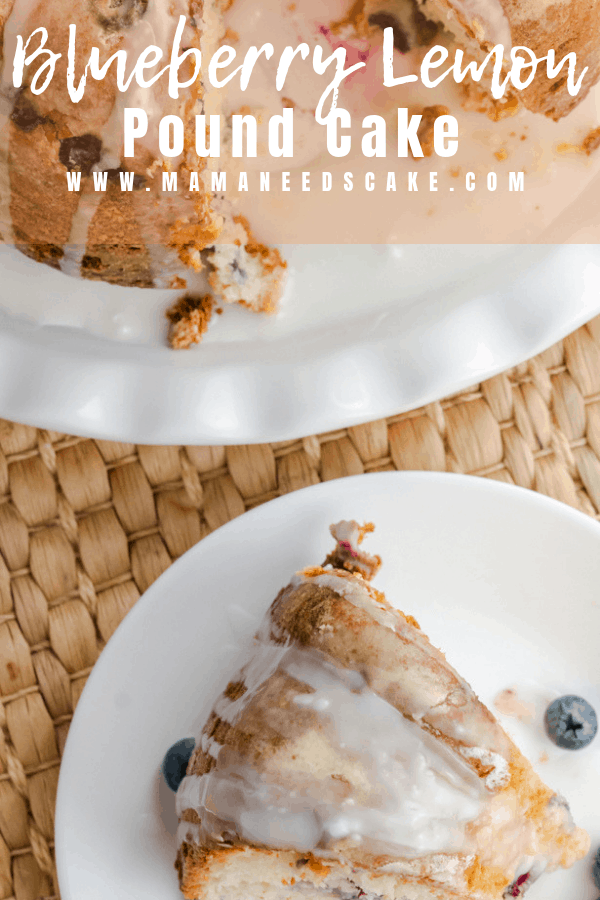 Moist and delicious blueberry pound cake made with yogurt and drizzled with lemon glaze. #poundcake #bundtcake #bundt #blueberry #lemonblueberry #freshblueberries #moistcake #foodblogger #dessert