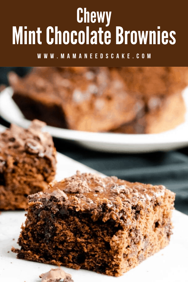 These chewy chocolate brownies are made with crushed mint cookies. They are frosted with a chocolate glaze and garnished with crushed cookies. #mintchocolate #brownies #chewybrownies #easydesserts #chocolatedesserts #baking #chewy #desserts #dessertrecipes #mamaneedscake
