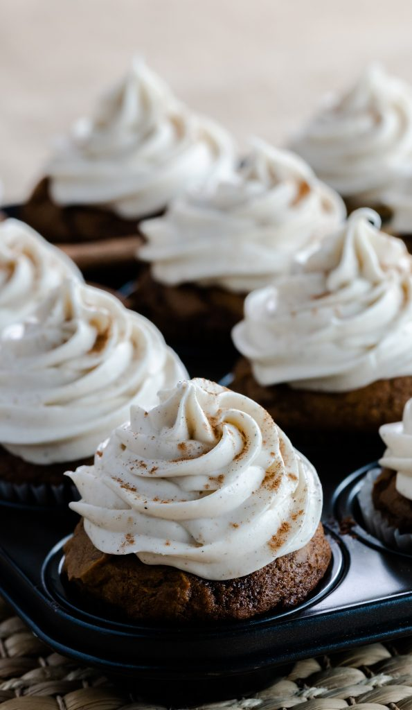 Cupcakes with the flavor pairings of pumpkin and gingerbread.  Topping this delicious combo is a spiced cream cheese frosting.