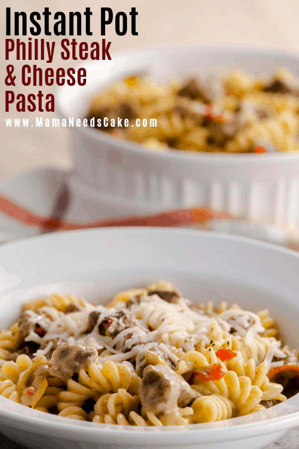 Philly Steak & Cheese Pasta made in the Instant Pot using stew beef cubes, provolone cheese, red peppers, and fusilli pasta. #instantpotpasta #instantpotmeals #kidfriendlydinner #pressurecookerpasta #phillysteakandcheese #phillycheesesteak #pasta #pastadinner