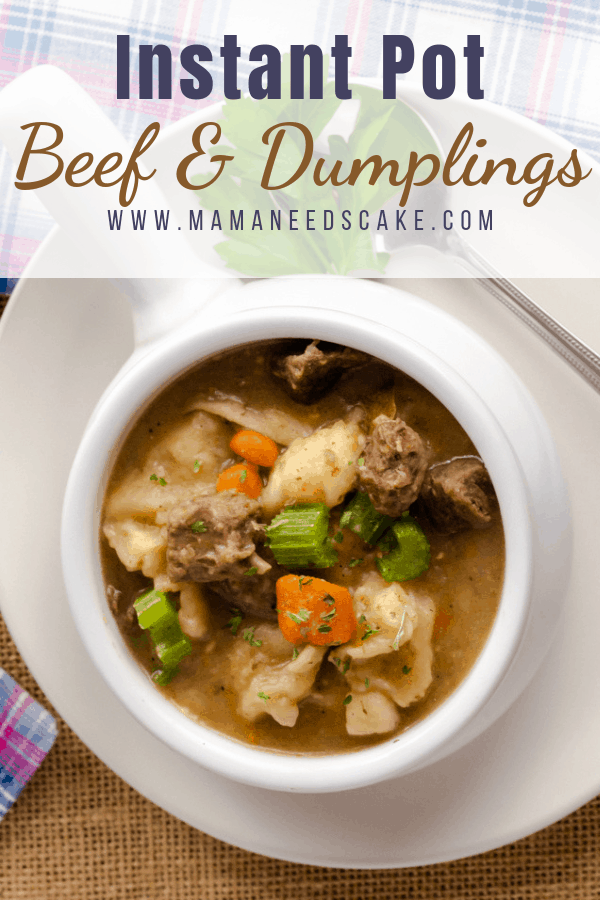 This comforting beef and dumplings are made in the Instant Pot with stew meat, potatoes, celery, onion, and carrots. This meal is ready in less than 1 hour. #instantpotbeef #beefanddumplings #beefdumplings #beefrecipe #dumplings #comfortmeals #instantpotmeals #easymeals #dumpandstart #freezermeals #pressurecookerrecipes