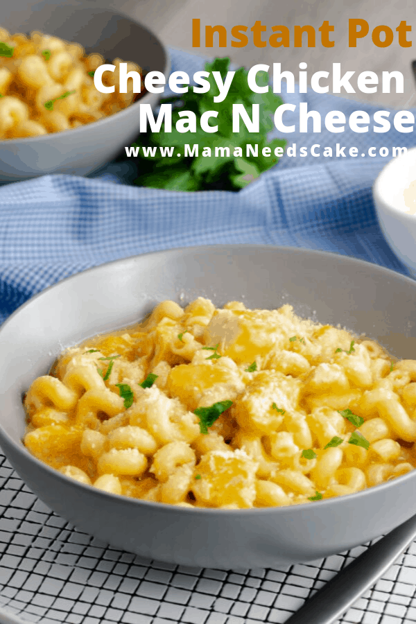 Kid-friendly cheesy mac n cheese made with cubed chicken breasts and cavatappi pasta in the Instant Pot in less than 15 minutes. #kidfriendlymeals #kidfriendlydinner #macncheese #macandcheese #cheesy #dinnerideas #easydinner #instantpotpasta #instantpotchicken #instantpot #pressurecookerpasta