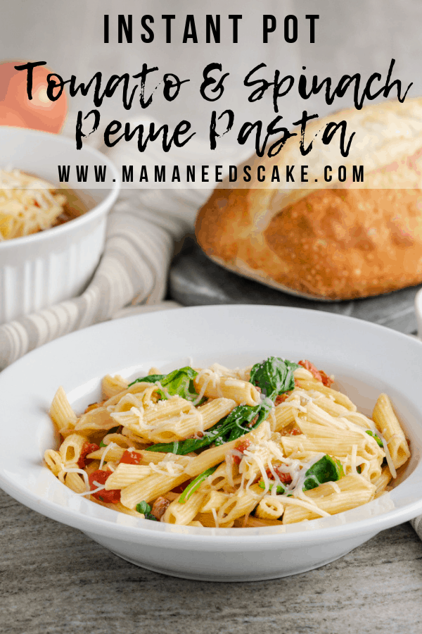 This 4 ingredient pasta is made in the Instant Pot with penne noodles, tomato, spinach, and is garnished with a shredded Italian cheese blend. #pasta #instantpotpasta #pennepasta #tomatoandspinach #spinach #pressurecooker #pastarecipes #potluck #pastasalad