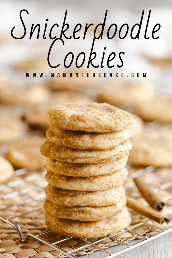 Classic snickerdoodle cookies rolled in a cinnamon-sugar mixture. These cookies are crisp around the edges and soft and chewy on the inside. #snickerdoodlecookies #classiccookies #holidaycookies #cinnamonsugar #easycookies #bakingrecipes #cookierecipes #mamaneedscake #easybaking