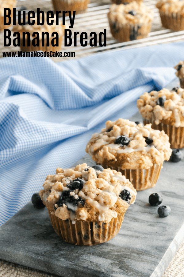 Delicious and moist blueberry banana muffins with a streusel topping and a sweet vanilla glaze. #blueberrybanana #blueberrybananabread #bananamuffins #blueberrymuffins #breakfastmuffins #streuseltopping #sweetglaze #easybreakfast #easyrecipe
