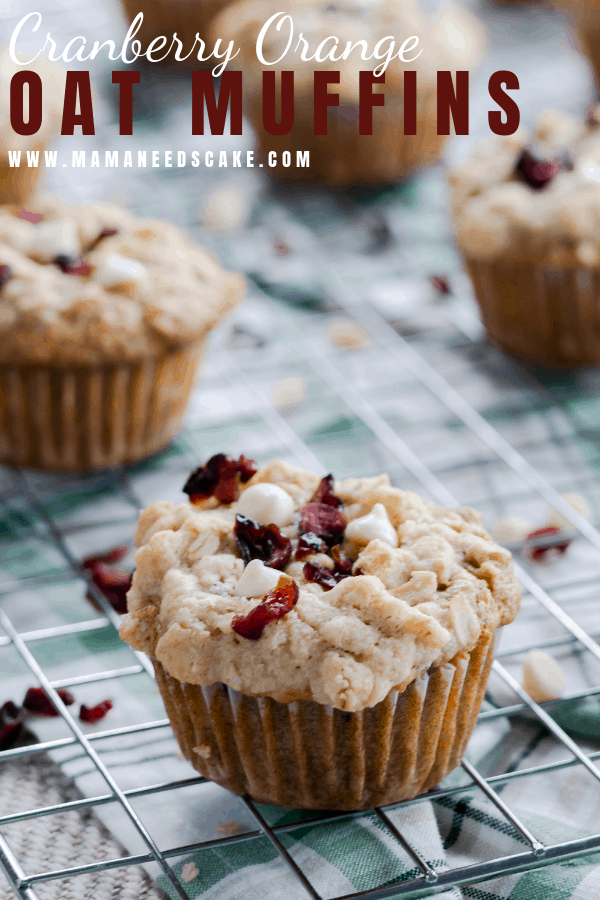 Cranberry Orange Oatmeal Muffins topped with an oatmeal streusel, dried cranberries, and white chocolate chips. #cranberryorange #cranberrymuffins #breakfastmuffins #muffins #fruitmuffins #easybreakfast #whitechocolatecranberry #cranberrybreakfast #oatmeal #oatmealmuffins #oatmuffins